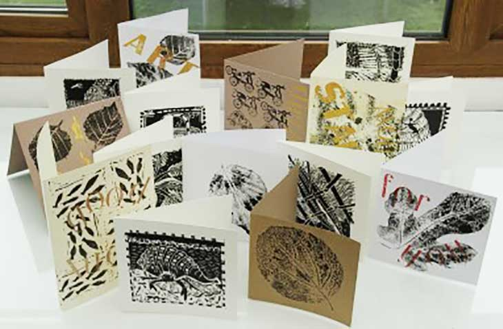 Collection of cards from a printmaking workshop