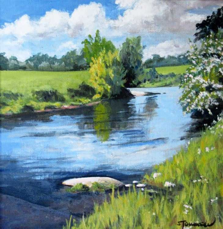 A painting of a river in the summer